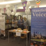 Standish Voice stall at Standish Library 50th anniversary celebrations