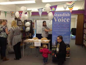 The public gives its views at the Standish Voice stall at Standish Library 50th anniversary celebrations