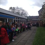 Giving Standish Library a hug at the 50th anniversary celebrations