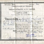 Wigan Athletic share certificate (1951). Supplied by Stan Aspinall