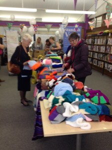 The giant scarf at Standish Library 50th anniversary celebrations